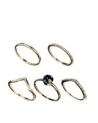 ASOS | Metallic Multi Stone Ring Pack | Lyst
