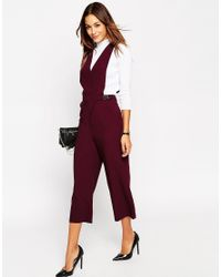 ASOS | Purple Jumpsuit With Pinafore Detail | Lyst
