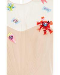 Delpozo Natural Flower Applique Tulle Gown