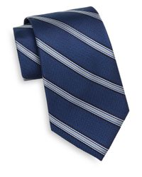 Saks Fifth Avenue - Blue Striped Silk Tie for Men - Lyst