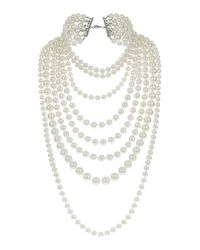 TOPSHOP White Multi Row Pearl Necklace