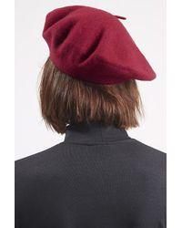 TOPSHOP - Red Wool Blend Beret Hat - Lyst