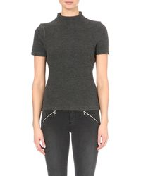 French Connection | Gray Ripple Texured Turtleneck Top | Lyst