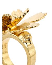 Alexander McQueen | Metallic Lotus Flower Ring | Lyst