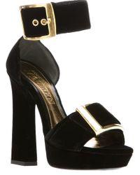 Alexander McQueen Black Chunk Buckle Sandal