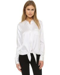 Equipment White Archive Luis Silk Tie Blouse