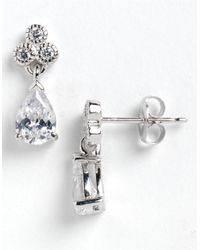 Lord & Taylor | Metallic Sterling Silver And Cubic Zirconia Teardrop Drop Earrings | Lyst