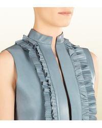 Gucci Blue Leather Ruffle Front Sleeveless Dress