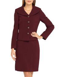 Tahari Purple Plus Shawl Collar Jacket And Skirt Suit