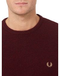 Fred Perry - Textured Crew Neck Pull Over Sweat for Men - Lyst