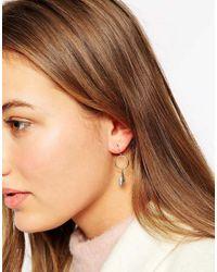 Orelia Metallic Mini Feather Hoop Earrings
