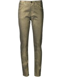 Tomas Maier - Green Mid-rise Metallic Skinny Jeans - Lyst