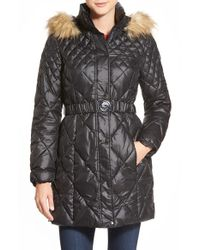 Guess Black Faux Fur Trim Belted Quilted Coat