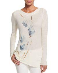Loro Piana - Natural Tulip-print Cashmere Sweater - Lyst