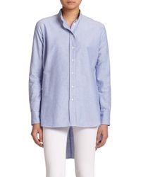 FRAME Blue Le Tunic Cotton Blouse