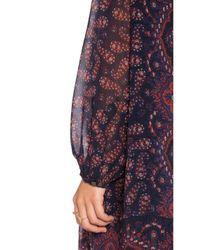 Maison Scotch Blue Dark Paisley Print Shift Dress