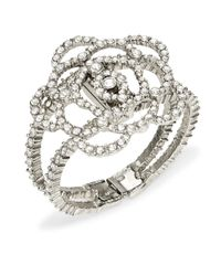 Oscar de la Renta | Metallic Pave Crystal Flower Bracelet | Lyst