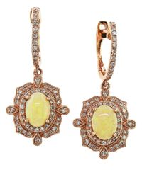 Effy | Yellow Aurora Opal, Diamond And 14K Rose Gold Drop Earrings | Lyst