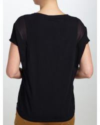 Maison Scotch Black Woven Jersey T-shirt