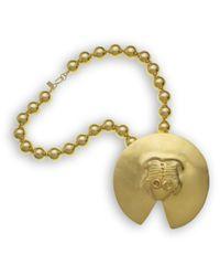 Kenneth Jay Lane | Metallic Satin Gold Frog Pendant | Lyst