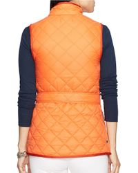 Lauren by Ralph Lauren Orange Belted Quilted Nylon Vest