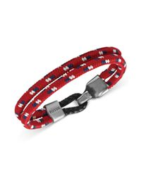 Fossil | Red Silvertone Bungee Cord and Hook Bracelet for Men | Lyst