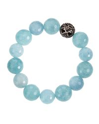 Bavna | Black Diamond Blue Agate Beaded Bracelet | Lyst