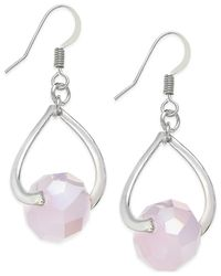 INC International Concepts - Pink Silver-tone Infinity Drop Earrings - Lyst