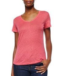 Neiman Marcus | Pink Short-sleeve V-neck Linen Top | Lyst