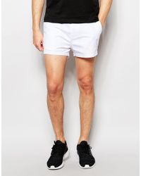 ASOS Slim Chino Shorts In White In Extreme Short Length for men