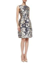 Lela Rose Multicolor Metallic Floral Jacquard Dress