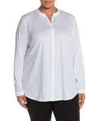 Eileen Fisher White Organic Cotton Jersey Mandarin Collar Shirt