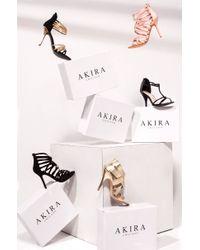 Akira Black Label - Metallic Ferocious Sandal Heel - Lyst