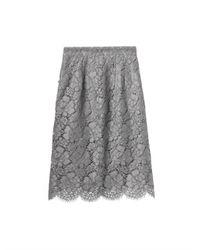 Dolce & Gabbana Gray Macramé Lace Pencil Skirt