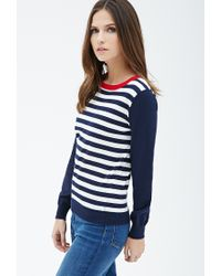 Forever 21 Blue Colorblocked Striped Sweater You've Been Added To The Waitlist