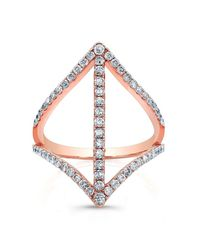 Anne Sisteron | Pink 18kt Rose Gold Diamond Spear Ring | Lyst