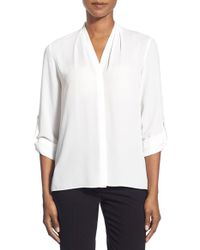 T Tahari | White 'taylor' Roll Sleeve Blouse | Lyst