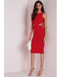 Missguided - Crepe Sleeveless Cut Out Midi Dress Red - Lyst