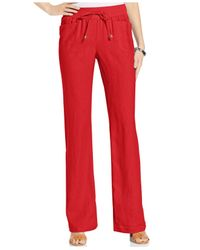 Style & Co. - Red Wide-Leg Linen Drawstring Pants - Lyst