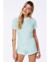 Missguided - Blue Alineh Floral Playsuit With Open Back - Lyst