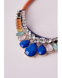 Missguided - Blue Rope Beaded Statement Necklace Multi - Lyst