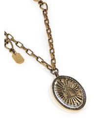 Lanvin - Metallic Oversize Crystal Cameo Brooch Pendant Necklace - Lyst