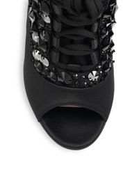 Miu Miu - Black Crystal-heel Bejeweled Lace-up Satin Sandals - Lyst