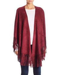 Alberto Makali - Red Faux Suede Fringe Poncho - Lyst