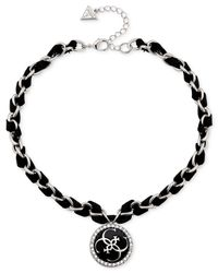 Guess | Black Silver-tone Faux Leather And Crystal Charm Necklace | Lyst