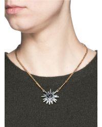 Lulu Frost Blue 'radiant' Ombré Pavé Pendant Chain Necklace