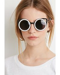 Forever 21 - Black Winged Round Frame Sunglasses - Lyst
