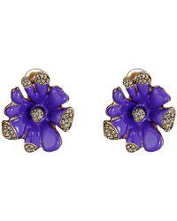 Oscar de la Renta - Purple Orchid Enamel Earring - Lyst