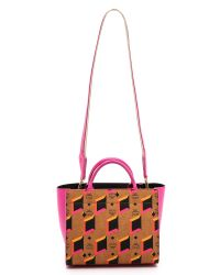 MCM Multicolor Diamond Printed Small Tote - Cognac