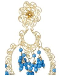 Isharya Blue Sultana Bali Goldplated Beaded Earrings